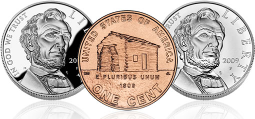 Lincoln Bicentennial Coins - Silver Dollars and Birthplace Lincoln Cent