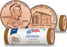 Lincoln Birthplace Design Coin Rolls