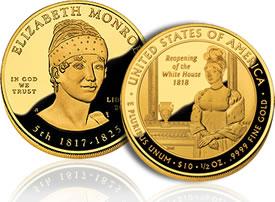 Elizabeth Monroe First Spouse Gold Coin