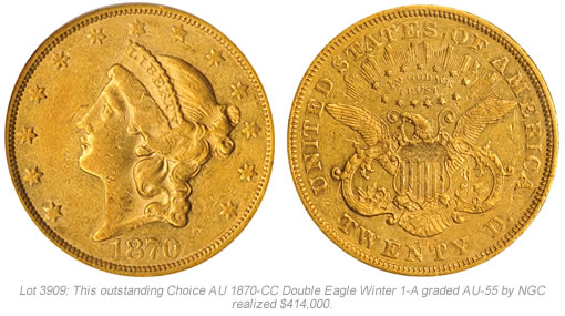1870-CC Double Eagle Gold Coin