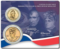 2009 William Henry Harrison Presidential $1 and First Spouse Medal Set