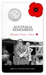 Australian Services Nurses 20c Coin Packaging