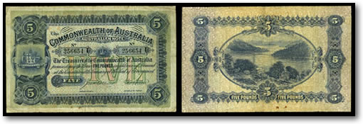 Commonwealth of Australia 1913 5 Pound Note