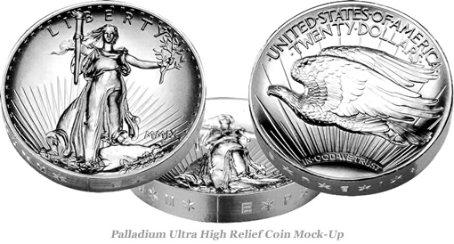 Palladium Ultra High Relief Coin Mock-up