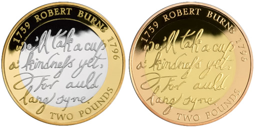 Robert Burns £2 Silver and Gold Proof Coins