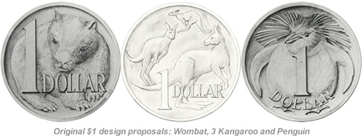 Original $1 coin design proposals: Wombat, 3 Kangaroo and Penguin