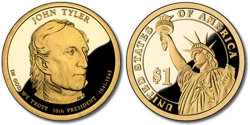 John Tyler Presidential $1 Coin: Proof version, Obverse and Reverse
