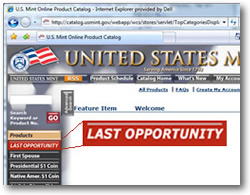 US Mint Last Opportunity page