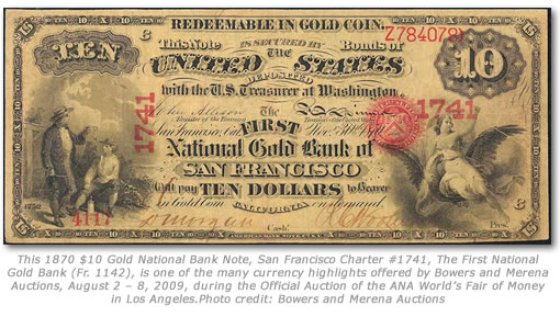 1870 $10 Gold National Bank Note