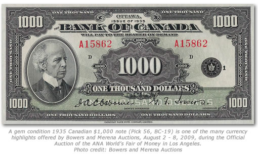 1935 Canadian $1,000 note