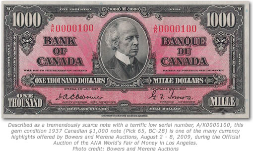 1937 Canadian $1,000 note