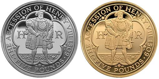 2009 UK Henry VIII £5 Anniversary Silver and Gold Coins
