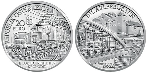 Austrian Railways Electric Train Silver Commemorative Coin