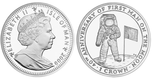First Man on the Moon Anniversary Silver Coin