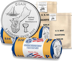 Guam quarters in US Mint bags and rolls