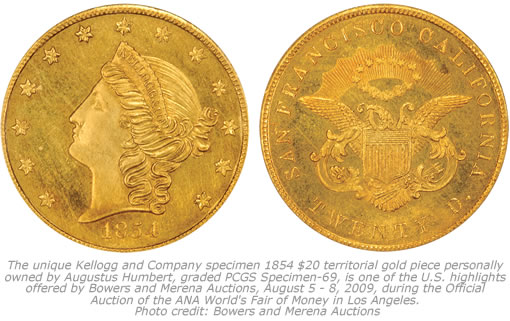 1854 Kellogg & Co. $20 Gold coin