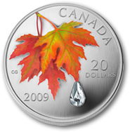 2009 Autumn Showers Crystal $20 Canadian Raindrop Silver Coin