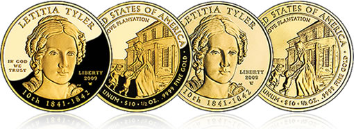 Letitia Tyler First Spouse Gold proof and uncirculated coins