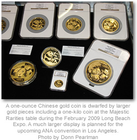 Majestic Chinese gold coins display