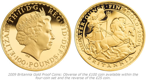 Royal Mint 2009 Britannia Gold Proof Coins