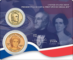 Tyler Presidential $1 Coin & First Spouse Medal Set
