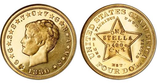 1880 $4 Coiled Hair Stella