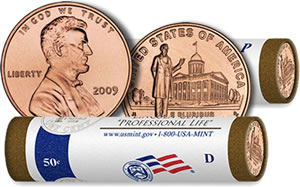 2009 Lincoln Professional Life in Illinois Cent and Penny Rolls