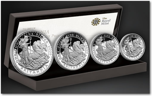 2009 UK Britannia Four Coin Silver Proof Set