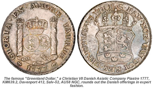 Christian VII Danish Asiatic Company Piastre 1777