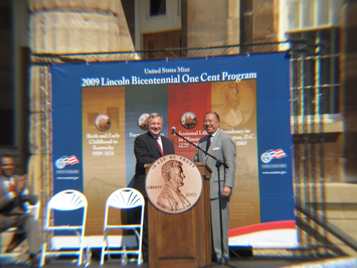 Sen. Dick Durbin and US Mint Director Edmund Moy