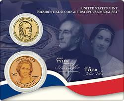 John and Julia Tyler Presidential $1 Coin & First Spouse Medal Set
