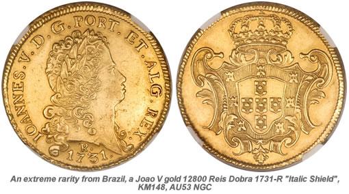 Rare Joao V gold 12800 Reis Dobra 1731-R