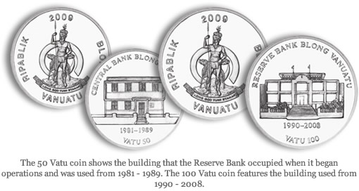 50 and 100 Vatu coins