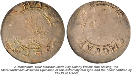 1652 Massachusetts Bay Colony Willow Tree Shilling