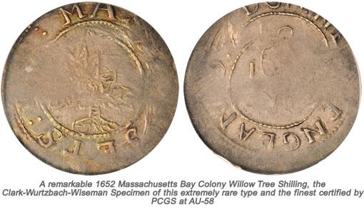 1652 Massachusetts Bay Colony Willow Tree Shilling