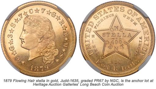 1879 Flowing Hair stella in gold