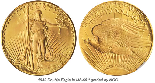 Gem BU 1932 Double Eagle Coin