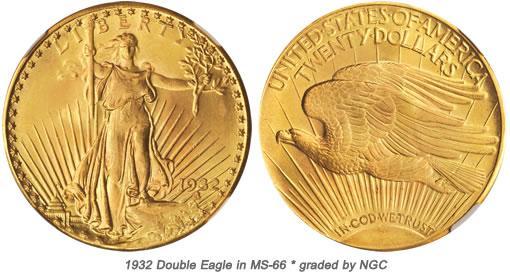 Gem BU 1932 Double Eagle Coin
