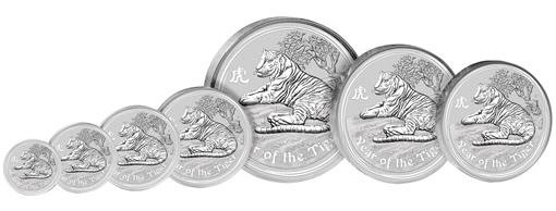 2010 Australian Lunar Tiger Silver Coins
