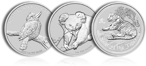 2010 Australian Silver Bullion Coins: Kookaburra, Koala, Lunar Tiger