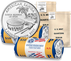American Samoa Quarters in US Mint bags and rolls