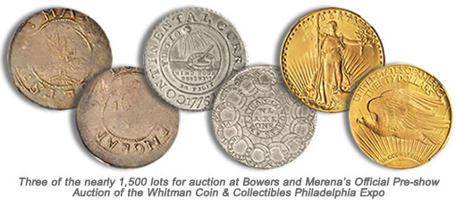 Coin rarities for auction by Bowers and Merena