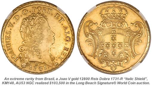 Brazil 12800 Reis Dobra 1731-R 'Italic Shield'