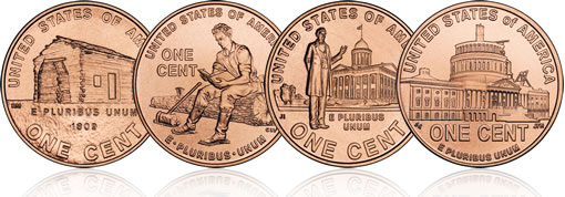 Four Bicentennial 2009 Lincoln Pennies