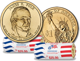 James K. Polk Presidential $1 Coin and Rolls