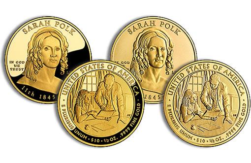 Sarah Polk First Spouse Gold Coins