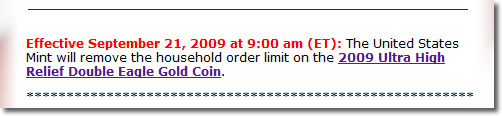 US Mint UHR $20 Gold Coin Message