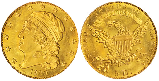 High Condition Census 1830 BD-1 Half Gold Eagle