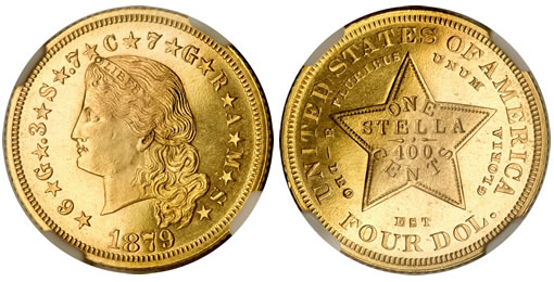 1879 Flowing Hair stella struck in gold, Judd-1635, Pollock-1833, PR65 NGC