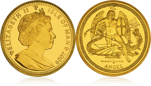 2009 Isle of Man Christmas Angel Gold Coin